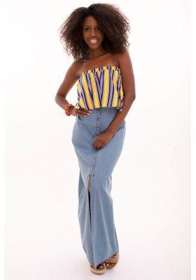Promo Saia Longa Jeans com Botões