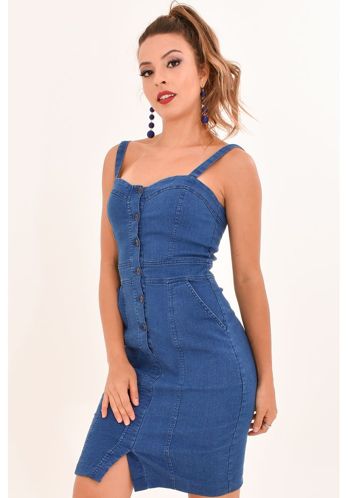 59b0c36d3 Vestido Jeans Botões - Atacado e Revenda de Moda Feminina - RDLay