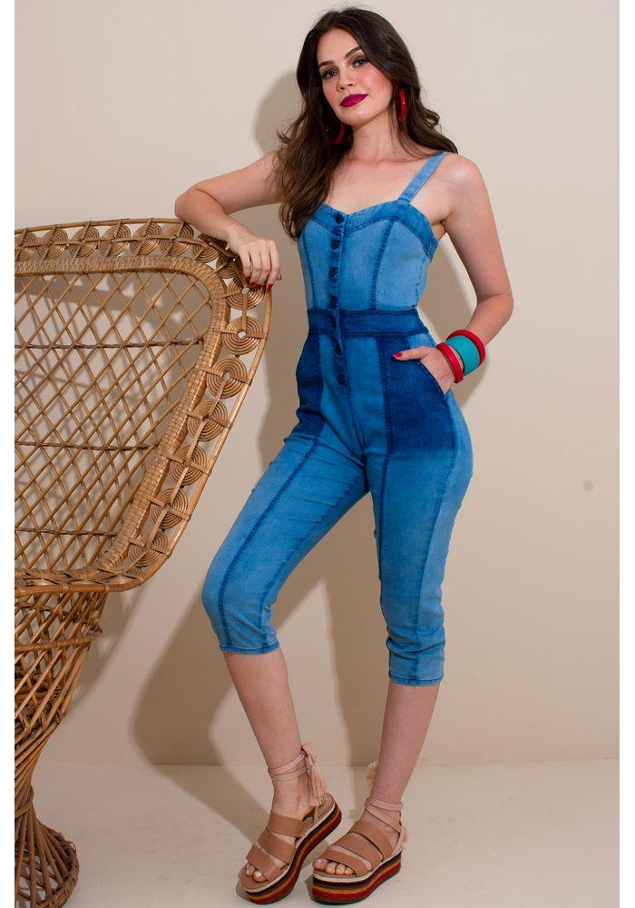 128099258 Macacão Pantacourt Jeans - Atacado e Revenda de Moda Feminina - RDLay